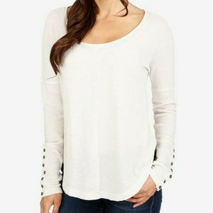 Lucky Brand Women's Blouse Cream Thermal Waffle L